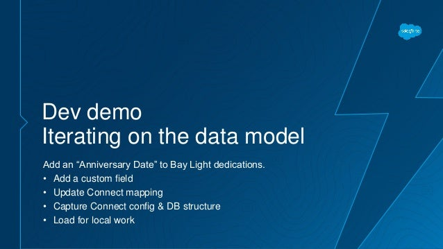 """Dev demo Iterating on the data model Add an """"Anniversary Date"""" to Bay Light dedications. • Add a custom field • Update Con..."""