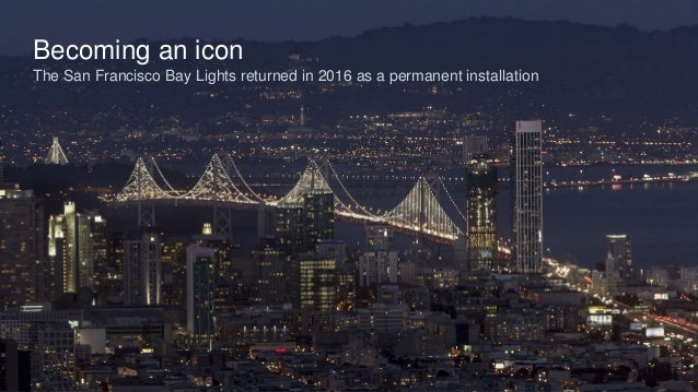 Becoming an icon The San Francisco Bay Lights returned in 2016 as a permanent installation