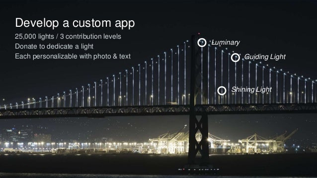 Develop a custom app 25,000 lights / 3 contribution levels Donate to dedicate a light Each personalizable with photo & tex...