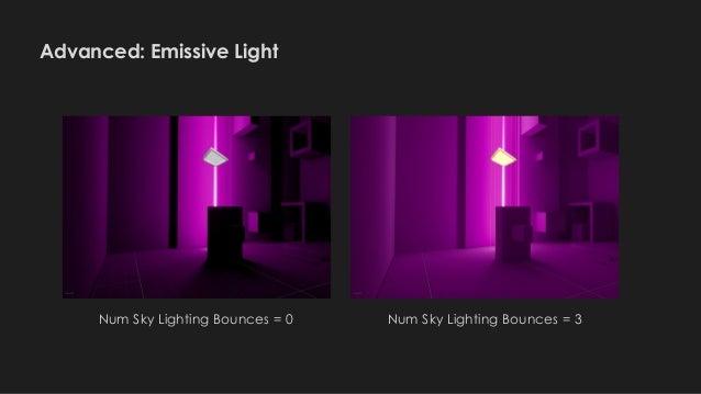 Advanced: Emissive Light Num Sky Lighting Bounces = 0 Num Sky Lighting Bounces = 3
