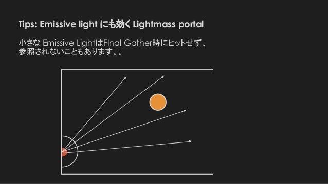 Tips: Emissive light にも効く Lightmass portal 小さな Emissive LightはFInal Gather時にヒットせず、 参照されないこともあります。。