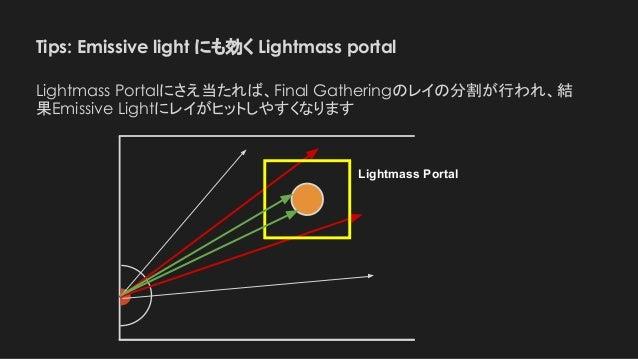 Tips: Emissive light にも効く Lightmass portal Lightmass Portal Lightmass Portalにさえ当たれば、Final Gatheringのレイの分割が行われ、結 果Emissive ...