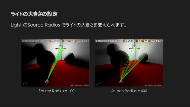 ライトの大きさの設定 Light のSource Radius でライトの大きさを変えられます。 Source Radius = 100 Source Radius = 400