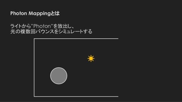 """Photon Mappingとは ライトから""""Photon""""を放出し、 光の複数回バウンスをシミュレートする"""