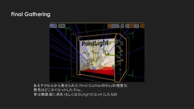Final Gathering あるテクセルから発せられた Final GatherのRayの視覚化 黄色はどこかにヒットした Ray。 青は無限遠に消失(もしくはSkylightにヒット)したもの