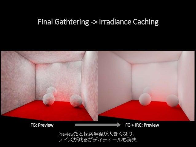Final Gathering Irradiance Caching 各テクセルに対して。。。 近くに十分な IRCある? NO!! YES!! なら補完して 値を格納Photon Mapping Scene Setup Indirect Li...