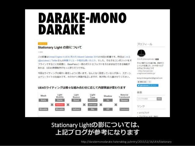 Stationary Lightの影については、 上記ブログが参考になります http://darakemonodarake.hatenablog.jp/entry/2015/12/16/UE4/Stationary