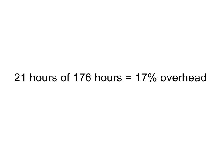 21 hours of 176 hours = 17% overhead