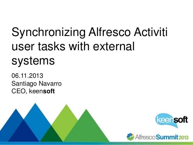 Synchronizing Alfresco Activiti user tasks with external systems 06.11.2013 Santiago Navarro CEO, keensoft  #SummitNow