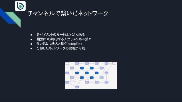チャンネルで繋いだネットワーク ● 各ペイメントのルートはたくさんある ● 頻繁にやり取りする人がチャンネル繋ぐ ● ランダムに他人と繋ぐ(autopilot) ● 分散したネットワークの実現が可能