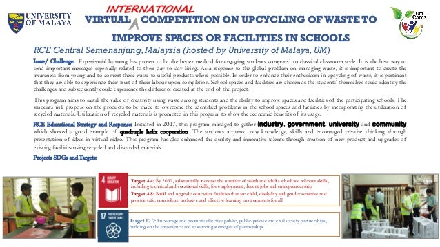 VIRTUAL COMPETITION ON UPCYCLING OFWASTE TO IMPROVE SPACES OR FACILITIES IN SCHOOLS RCE Central Semenanjung,Malaysia (host...