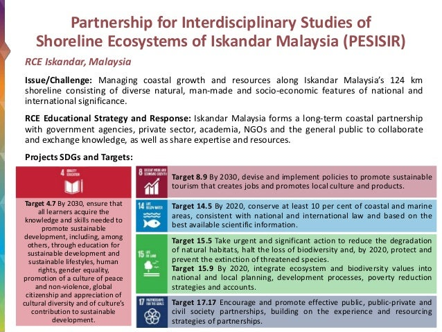 Partnership for Interdisciplinary Studies of Shoreline Ecosystems of Iskandar Malaysia (PESISIR) RCE Iskandar, Malaysia Is...