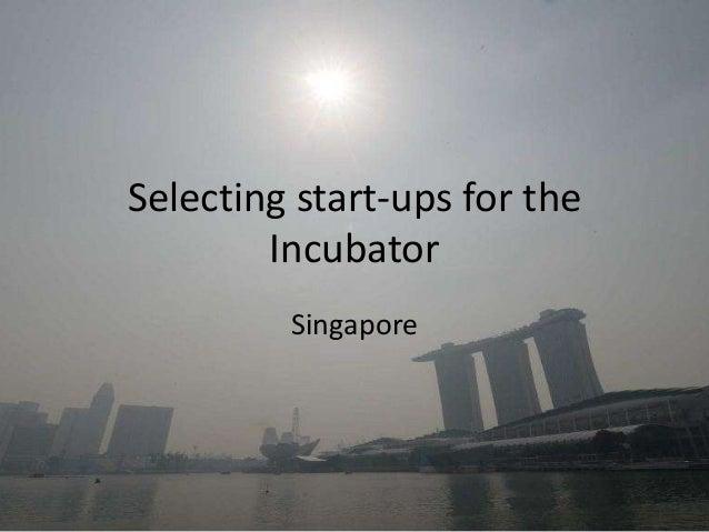 Selecting start-ups for theIncubatorSingapore