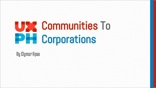 Communities To Corporations ByElymarApao