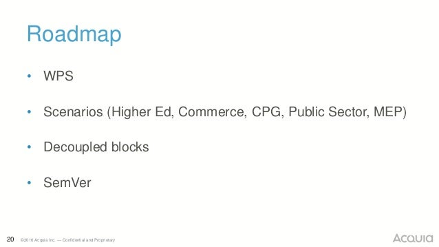 20 ©2016 Acquia Inc. — Confidential and Proprietary Roadmap • WPS • Scenarios (Higher Ed, Commerce, CPG, Public Sector, ME...