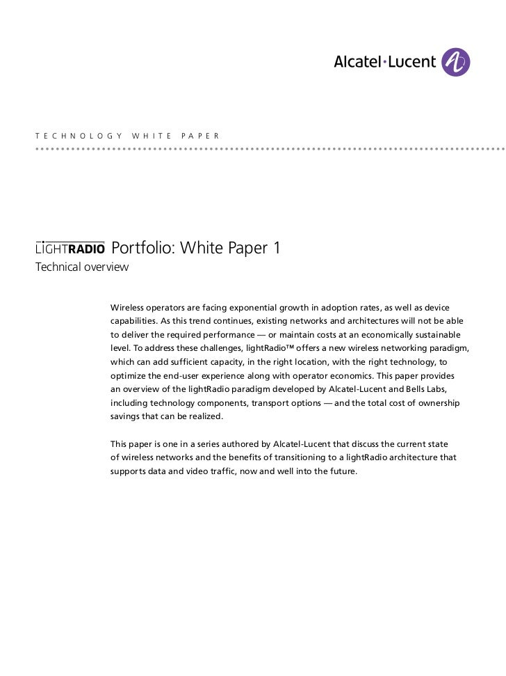 T E C H N O L O G Y   W H I T E   P A P E R                Portfolio: White Paper 1Technical overview                Wirel...