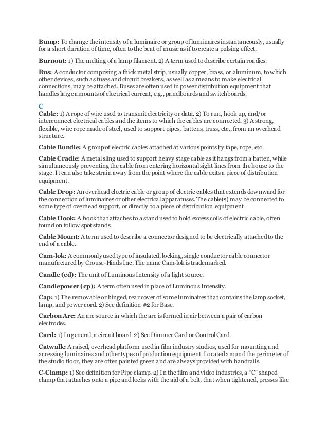light and sound glossary of theatrical lighting rh slideshare net