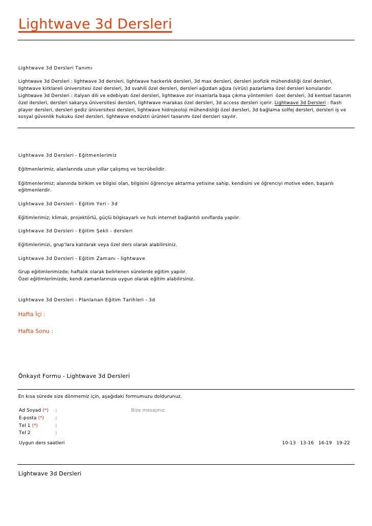 Lightwave 3d DersleriLightwave 3d Dersleri TanımıLightwave 3d Dersleri : lightwave 3d dersleri, lightwave hackerlık dersle...