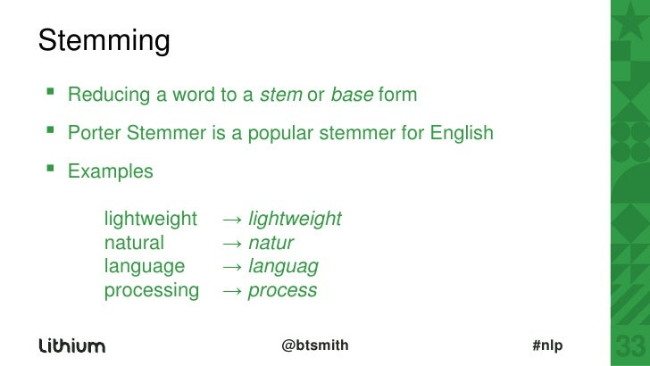 Stemming▫ Reducing a word to
