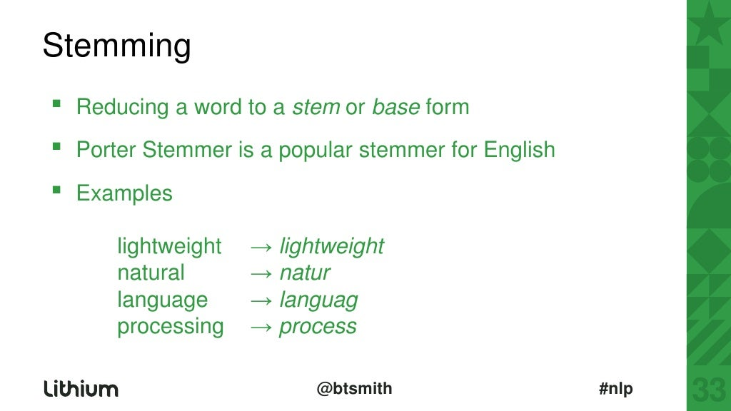 stemming reducing a word to