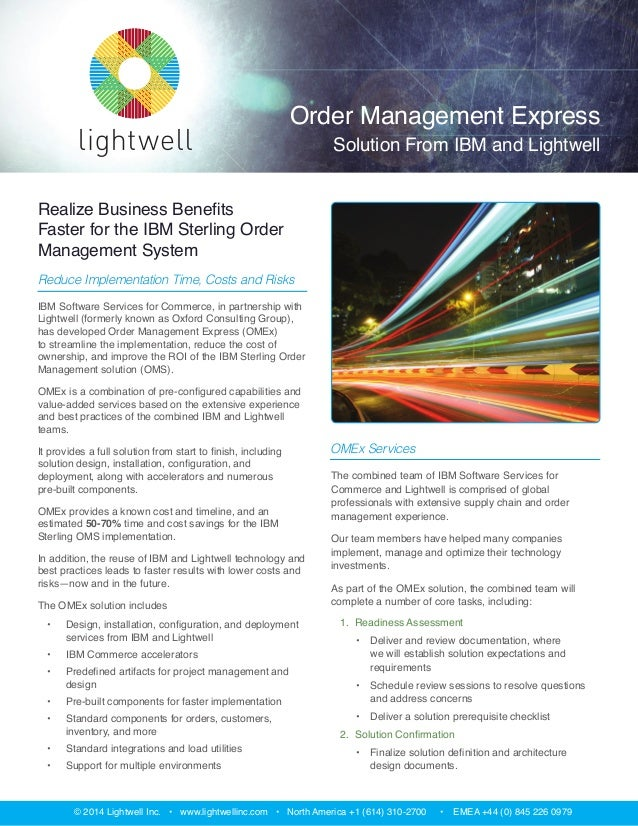 Order Management Express Solution from IBM and Lightwell