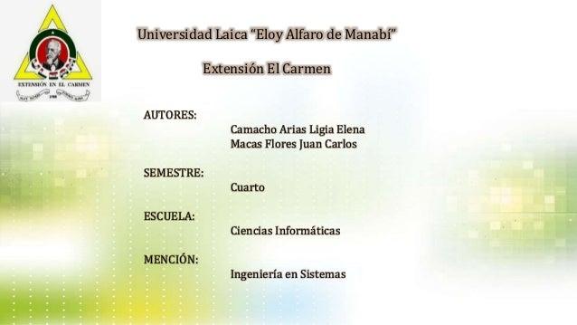 """Universidad Laica """"Eloy Alfaro de Manabí"""" Extensión El Carmen AUTORES: Camacho Arias Ligia Elena Macas Flores Juan Carlos ..."""