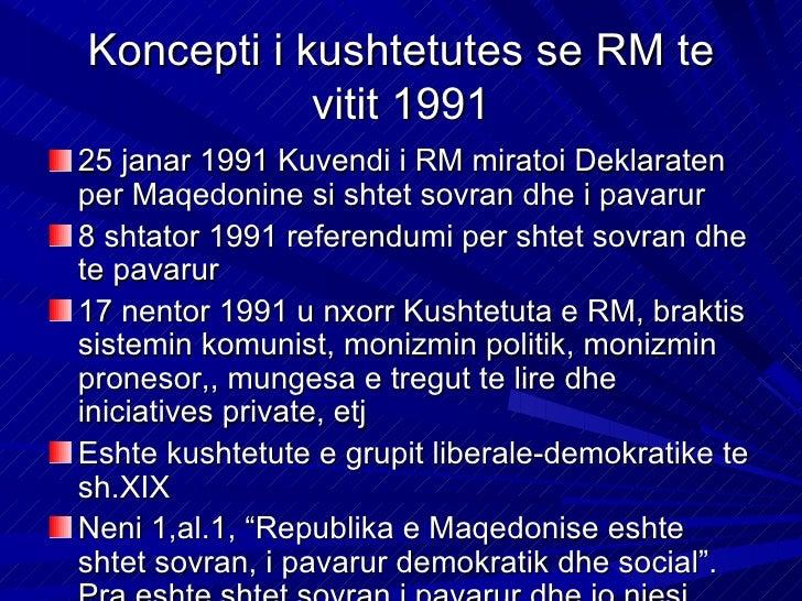 Sovraniteti buron nga shtetasitShtetasit e Maqedonise pushtetin e realizojnenepermjet perfaqesuesve te zgjedhur, nepermjet...