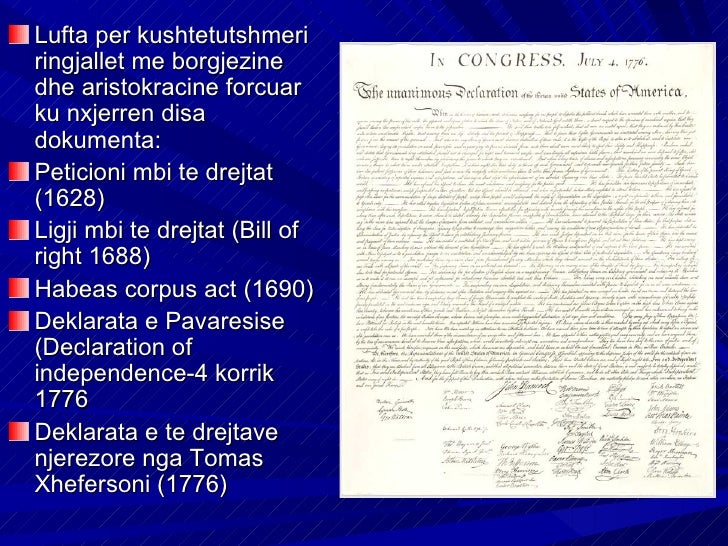 Lufta per kushtetutshmeriringjallet me borgjezinedhe aristokracine forcuarku nxjerren disadokumenta:Peticioni mbi te drejt...