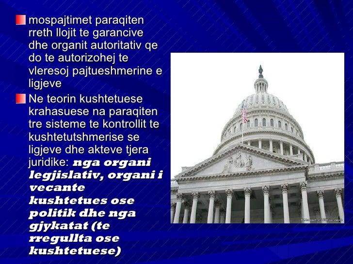 """Kontrolli dhe mbrojtja e   kushtetutshmerise nga ana e        organit legjislativVetem organi legjislativ (si""""organ me i l..."""