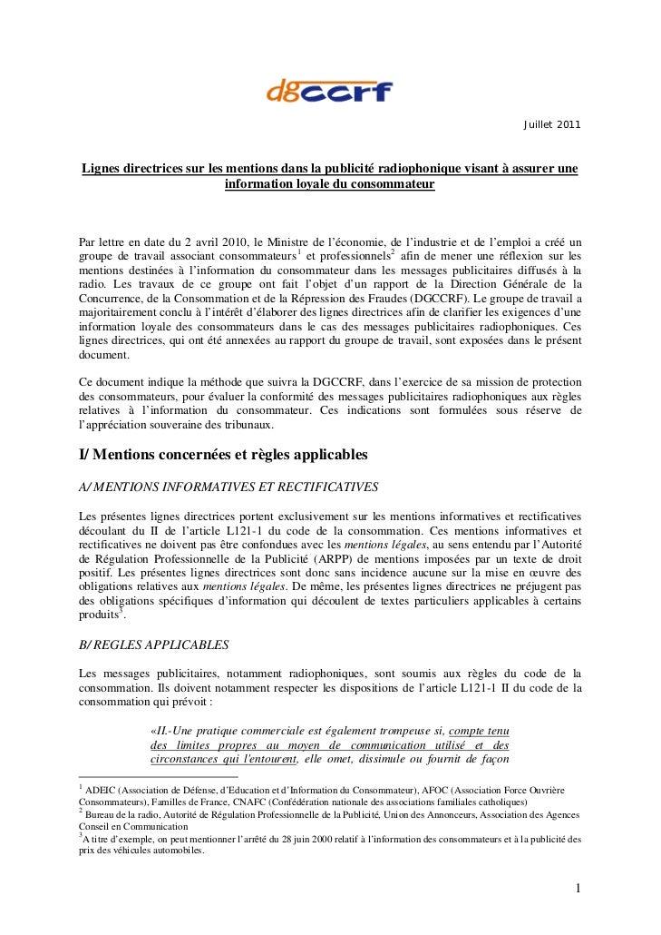 Juillet 2011Lignes directrices sur les mentions dans la publicité radiophonique visant à assurer une                      ...