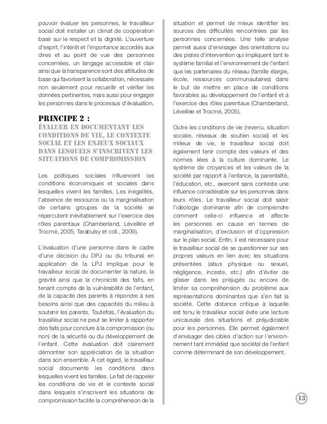 Principe 3 :                                         de la situation de l'enfant ou de sa famille     Évaluer en primant l...