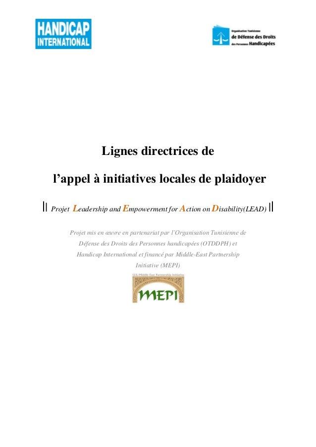 Lignes directrices de l'appel à initiatives locales de plaidoyer || Projet Leadership and Empowerment for Action on Disabi...
