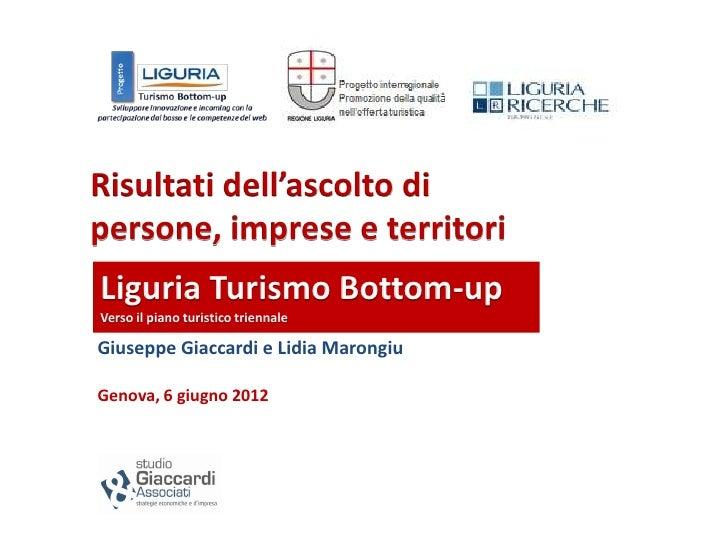 Risultati dell'ascolto dipersone, imprese e territoriLiguria Turismo Bottom-upVerso il piano turistico triennaleGiuseppe G...
