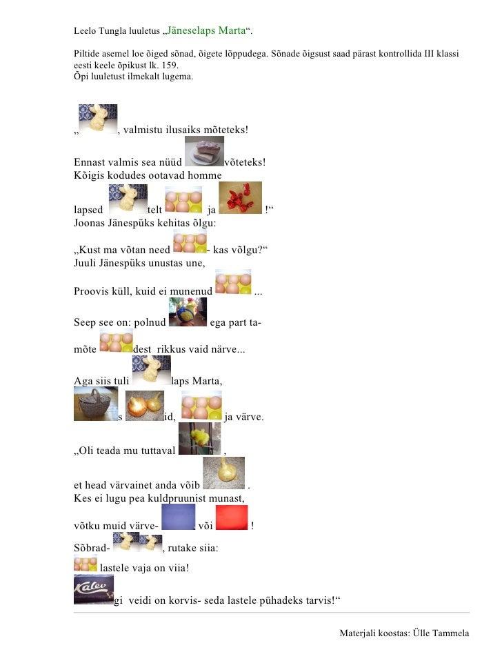 """Leelo Tungla luuletus """"Jäneselaps Marta"""".  Piltide asemel loe õiged sõnad, õigete lõppudega. Sõnade õigsust saad pärast ko..."""