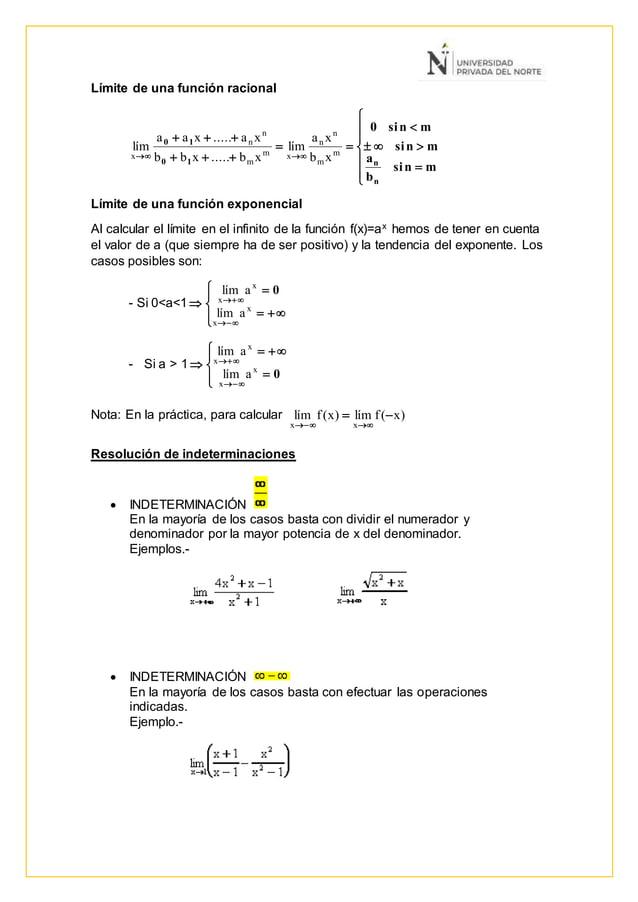 Límite de una función racional               mnsi b a mnsi mnsi0 n n10 10 m m n n xm m n n x xb xa...