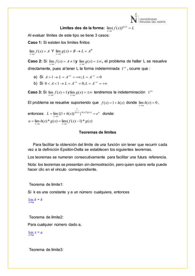 Limites des de la forma: Lxf xg ax   )( ))((lim Al evaluar límites de este tipo se tiene 3 casos: Caso 1: Si existen los...