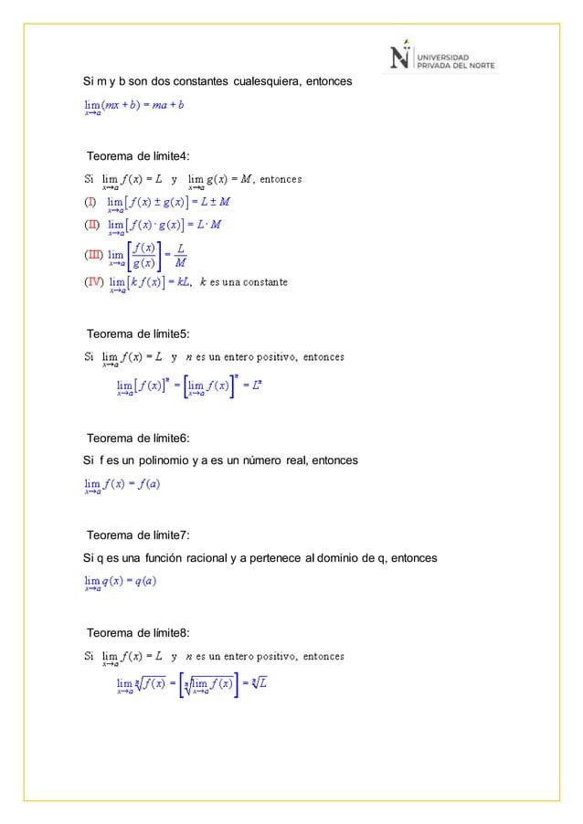 Si m y b son dos constantes cualesquiera, entonces Teorema de límite4: Teorema de límite5: Teorema de límite6: Si f es un ...