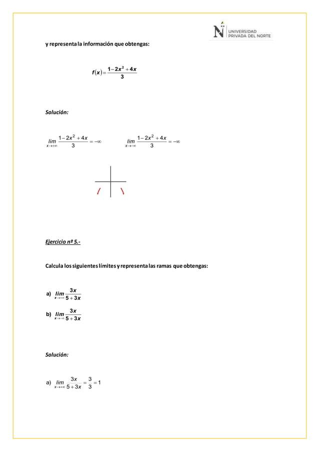 y representala información que obtengas: Solución: Ejercicio nº 5.- Calcula lossiguienteslímitesyrepresentalas ramas que o...
