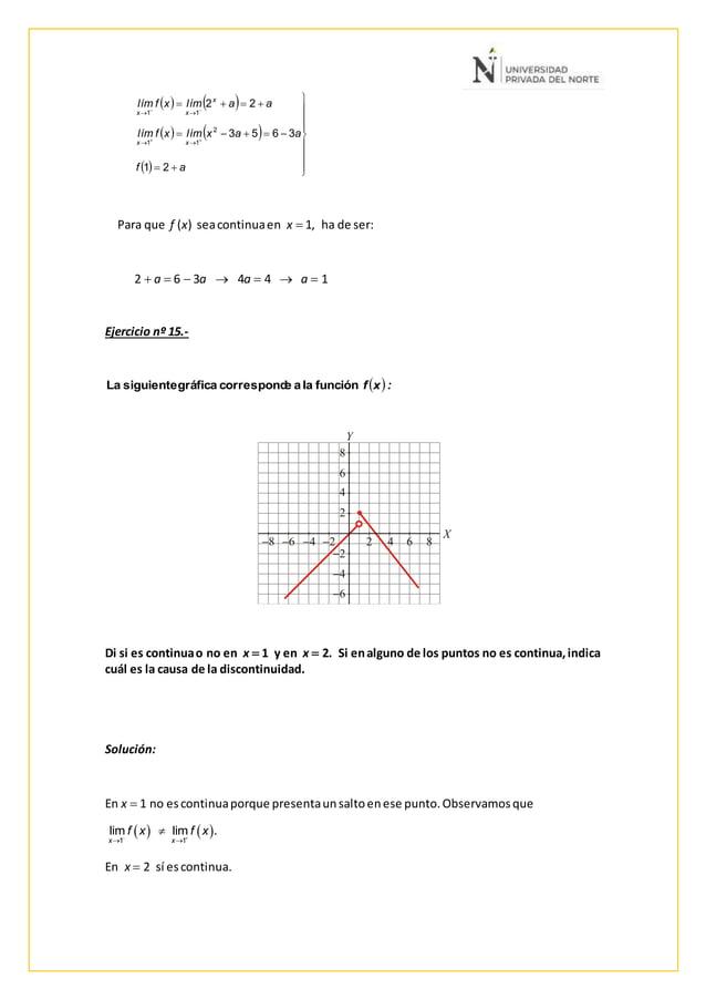Para que f (x) seacontinuaen x  1, ha de ser: 2  a  6  3a  4a  4  a  1 Ejercicio nº 15.- Di si es continuao no en ...