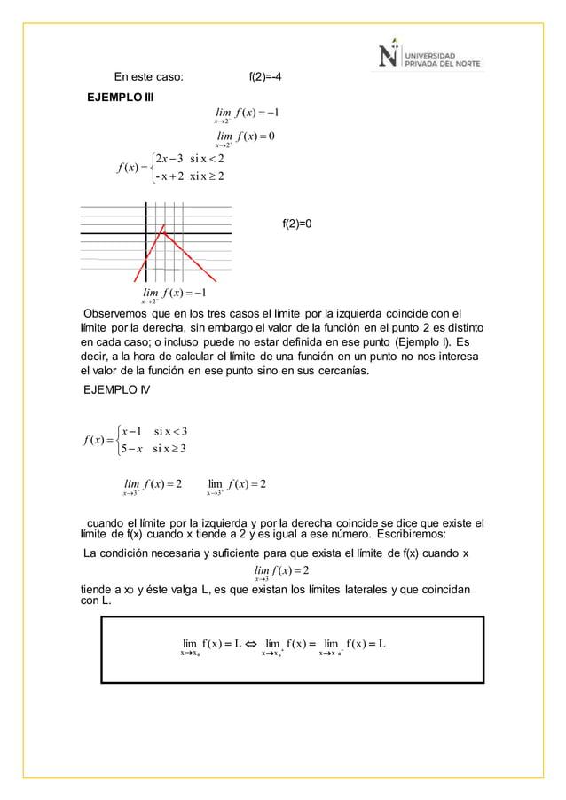 En este caso: f(2)=-4 EJEMPLO III f(2)=0 Observemos que en los tres casos el límite por la izquierda coincide con el límit...