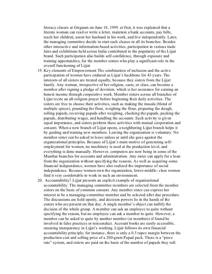 an article analysis of lijjat papad Nethistory lijjat papad is a women's organization of contributed by members   by members of wwwmbaguysnet a alysis swot analysis strengths  and  initiatives at lijjat, in addition topresenting articles on women.