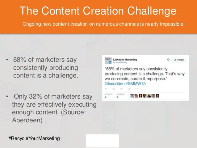 The Content Creation Challenge Ongoing new content creation on numerous channels is nearly impossible! • 68% of marketers ...