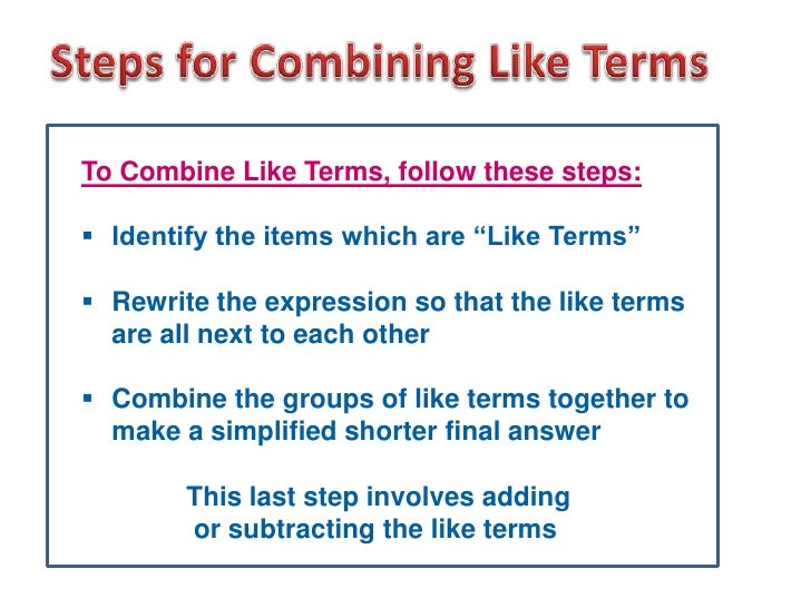 Combining Algebra Like Terms