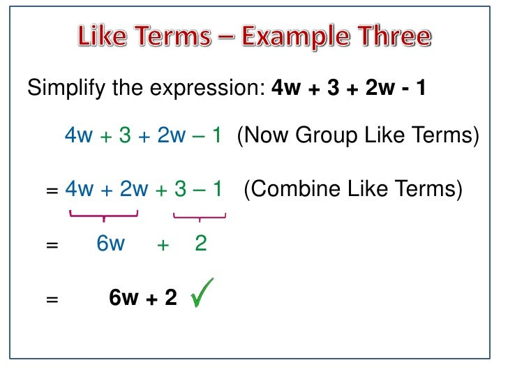 Combining Algebra Like Terms – Adding and Subtracting Like Terms Worksheet