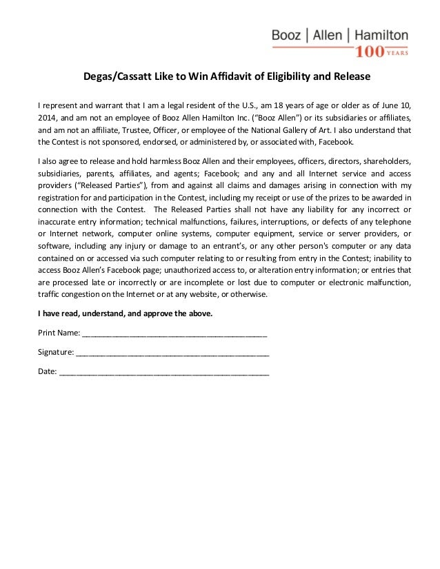 Degas/Cassatt Like to Win Affidavit of Eligibility and Release I represent and warrant that I am a legal resident of the U...