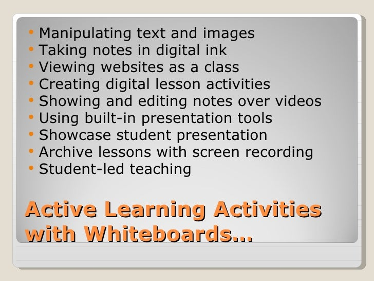    Manipulating text and images   Taking notes in digital ink   Viewing websites as a class   Creating digital lesson ...