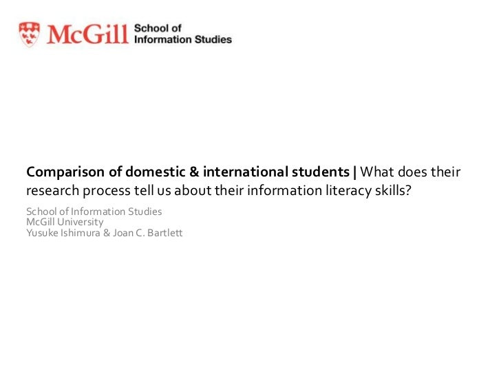 Comparison of domestic & international students | What does their research process tell us about their information literac...