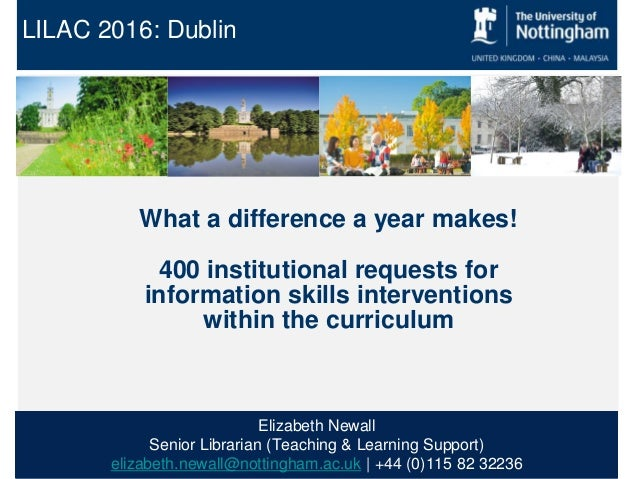 LILAC 2016: Dublin What a difference a year makes! 400 institutional requests for information skills interventions within ...