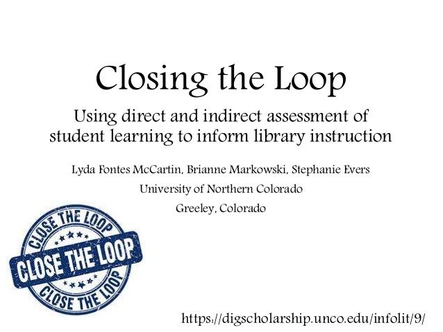 Closing the Loop Using direct and indirect assessment of student learning to inform library instruction Lyda Fontes McCart...