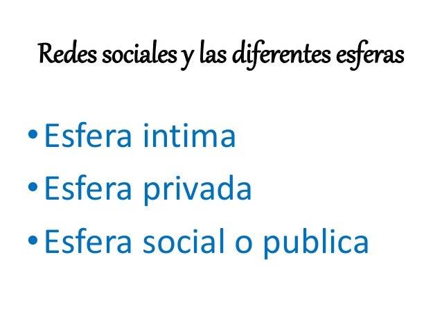 Redes sociales y las diferentes esferas •Esfera intima •Esfera privada •Esfera social o publica